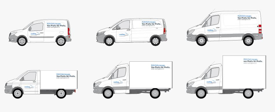 Coolingvans Kühlfahrzeuge Beschriftungskonzept Mietfahrzeugflotte