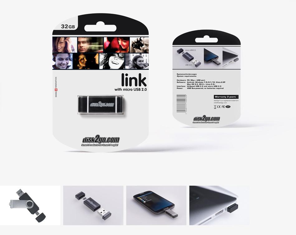disk2go LINK USB Stick Packungsgestaltung und Produktfotografie