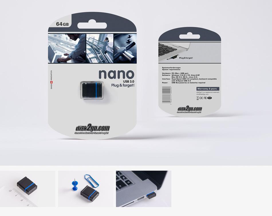 disk2go Nano 3.0 USB Stick Packagingdesign