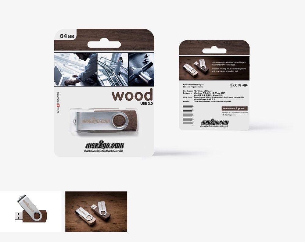 disk2go WOOD USB Stick Packungsgestaltung und Produktfotografie