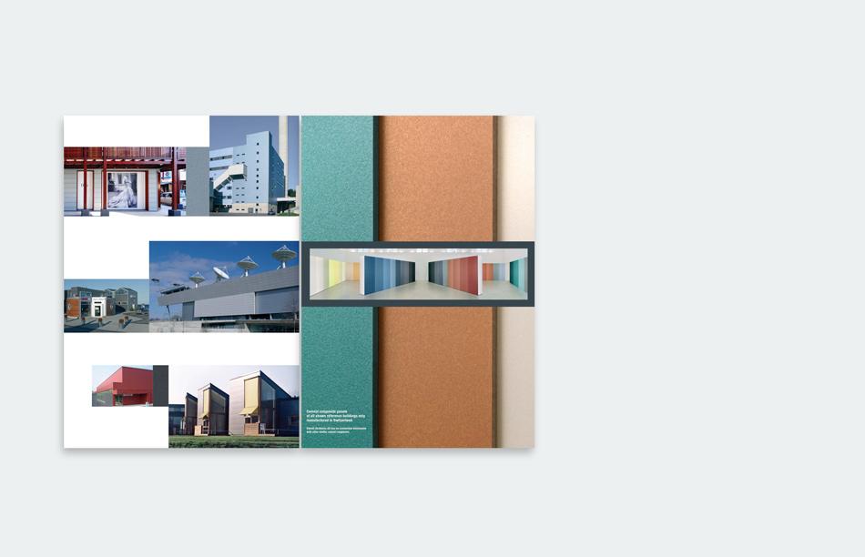 Swisspearl Fassadenplatten Gestaltung Konzept Mappe Broschüren Programm Farben Architektur